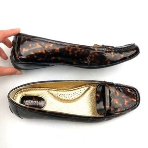 Sperry Tortoise Shell Patent Leather Loafers NEW